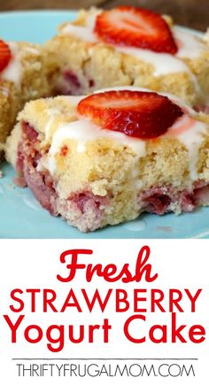 This Fresh Strawberry Yogurt Cake is one of the best homemade strawberry cake recipes I've ever had! It's made from scratch and is so incredibly moist. And that lemon glaze? Such an amazingly delicious addition! Best Homemade Strawberry Cake Recipe, Strawberry Cake From Scratch, Strawberry Yogurt Cake, Strawberry Cake Recipes, Mandarin Orange Cake Recipe From Scratch, Recipes With Yogurt, Recipes With Strawberries, Strawberry Breakfast, Strawberry Plants