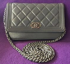 018f0029c568 Authentic Chanel Le Boy Wallet On Chain WOC Blue Gray Shoulder Crossbody Bag