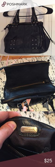 "Black leather bag Beautiful bag. Has 3 compartments. Very good condition. Clean inside. High quality. L13.5"" H 9"" Just noticed it's missing one tiny button. Pic 4. Brand is Arezzo Calvin Klein Bags Shoulder Bags"