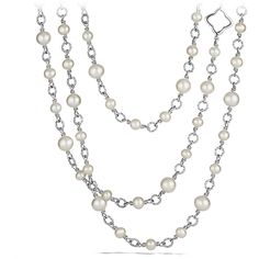 David Yurman Chain Necklace with Pearls ($1,200) ❤ liked on Polyvore featuring jewelry, necklaces, accessories, jewelry necklaces, jeweller, toggle clasp necklace, david yurman jewelry, pearl necklace, pearl jewelry and long chain necklace