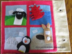 Animal habitats with snap on finger puppet.