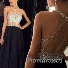 Elegant halter black chiffon sequins long prom dress, ball gown, prom dresses 2016