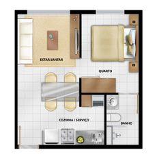 apartamento 30m2 - Google Search One Bedroom Apartment, Apartment Plans, Garage Apartments, Tiny Apartments, Small House Plans, House Floor Plans, Studio Floor Plans, Sims Building, Sims House