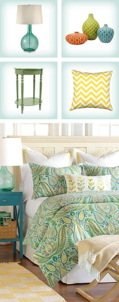 To create a cheery, relaxing bedroom space, try starting with a patterned duvet in bright colors. Add colored side table lamps & accent pillows to pack a punch! Enjoy 10% OFF your first order when you sign up for our mailing list.