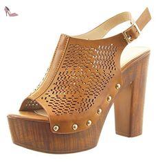 b78d58e9f91 Sopily - Chaussure Mode Sandale ouverte Cheville femmes perforée clouté Talon  haut bloc 12 CM -