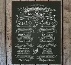 Chalkboard Wedding Program Sign Printable by HopSketchDesigns
