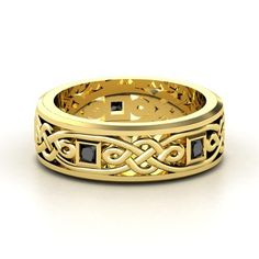 Men's 14K Yellow Gold Ring with Black Diamond - lay_down