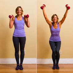 Grab a pair of dumbbells and do a full-body circuit workout designed to strengthen your arms, legs, and core in your living room.