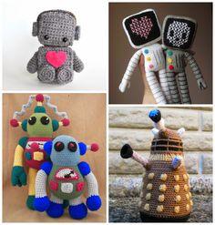 Amigurumi robots: Bubblegum Belles, Petits Pixels, Crafty Deb, Angry Angel