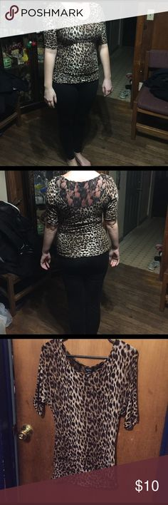 Cheetah blouse Quarter length sleeves cheetah blouse, lace on the back Rue 21 Tops Blouses