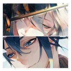 Mikazuki and kogitsunemaru Anime Oc, Anime Eyes, Anime Manga, Anime Girl Hot, Hot Anime Guys, Touken Ranbu Mikazuki, Handsome Anime Guys, Beautiful Anime Girl, Manga Boy
