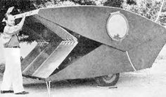 Pop-Up teardrop style trailer was homemade from wood. From Popular Mechanics, December, 1939.