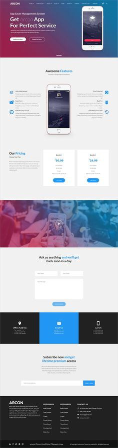 Arcon is clean and modern design responsive multipurpose WordPress template for #app showcase #landingpage #website with 18+ niche homepage layouts to live preview & download click on Visit