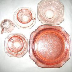 Madrid pattern pink depression glass