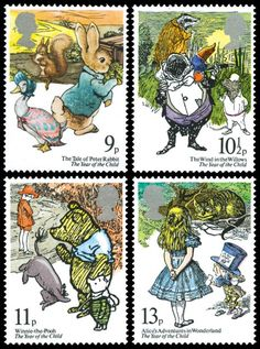UK stamps featuring children's books by UK authors Postage Stamp Design, Postage Stamps, Beatrix Potter, Art Postal, Going Postal, Love Stamps, My Stamp, Stamp Collecting, Mail Art