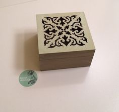 Check out Handpainted by RoseyJohnny vintage jewelry box wood matte mint green top with gray all over wood 4x4 inches on roseyjohnny
