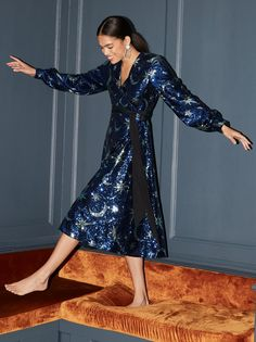 Bianca Blue Sequin Wrap Midi Dress| Women's Sequin Party Wrap Dresses | KITRI Nice Dresses, Wrap Dresses, Long Sleeve Midi Dress, Going Out Outfits, Classy Casual, Fashion Editor, Sequin Dress, Women Wear, Vogue