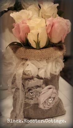 Burlap and lace Gunny Sack Canning Jars. Love the ribbon roses with pearl center