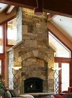 I love tall fireplaces