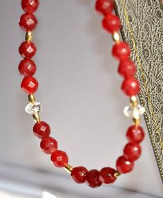 Elegant Faceted Ruby Necklace by Handmade in the UK by British Jewellery Designer Marcia White MarciaWhiteUK, £425.00