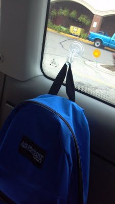 This would help a lot in our car that seems to always be full of kids.  Hang up the backpacks with suction cups. Avoid them getting stepped on and keep them handy!  Love it!