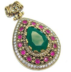 $58.95 Victorian+Style+Red+Ruby+&+Emerald+&+White+Topaz+Sterling+Silver+Pendant at www.SilverRushStyle.com #pendant #handmade #jewelry #silver #emerald