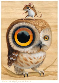 "⇢   http://cuddlyrigormortis.com/portfolio/new-paintings/16117045 ⇢  ""Lil'Hoot""    ⇢  KristinTercek"