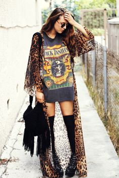 badass. fringe. vintage graphic t. cheetah/leopard print long kimono.   a few of my favorite things