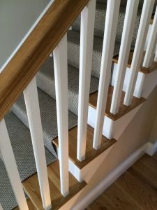 Woven wool stair runner that we fabricated using a fold and stitch method