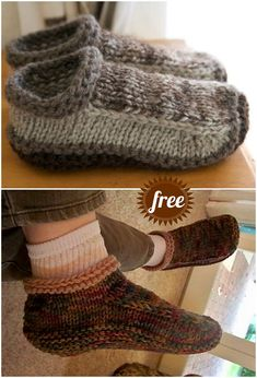 The Cutest Free Knitted Slippers Pattern Ideas Felted Slippers Pattern, Crochet Slipper Pattern, Knitted Slippers, Crochet Slippers, Knit Or Crochet, Knitted Socks Free Pattern, Slipper Socks, Crochet Granny, Knitting Patterns Free