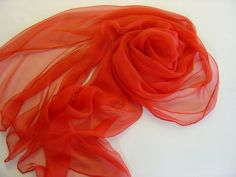 Seidenschals - Seidenschal 230 cm passionrot Chiffonschal Stola - ein Designerstück von textilkreativhof bei DaWanda