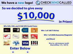 Check Who Called $10,000 in Prizes Giveaway!  Read more at http://checkwhocalled.com/giveaway/1