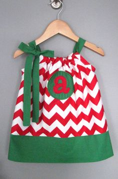 Personalized Initial Christmas Pillowcase Dress by jamnjelli, $28.00