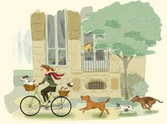 Bike Riding Girl and Dogs Print New Lower Price by vpauld on Etsy, $15.00
