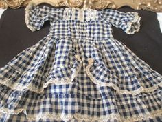 Antique German French Bisque Doll Dress Navy Gingham Lace Trims Factory Original