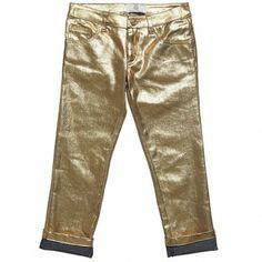METALLIC TREND 2014??? Young Versace Girls Metallic Gold Jeans ($125+)