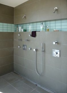 Shower idea for bathroom. I love the built in shelf for everthing that accumulates in the shower. Great idea to set off with accent color: Bodega Bay Master Bath modern bathroom Bad Inspiration, Bathroom Inspiration, Modern Bathroom Design, Bathroom Interior Design, Bathroom Designs, Modern Design, Shower Designs, Interior Modern, Double Shower