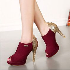 New Autumn Fashion Sexy Fish-mouth Paillette High-heel Pump Shoes