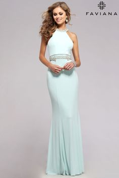 Jersey high neck with beaded waist and neck #Faviana Style 7783 #PromDresses