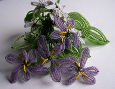 Vintage French Beaded Flower Cluster of Violets & Leaves | ladybluedesigns - Jewelry on ArtFire