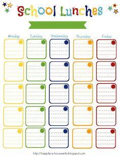 printable weekly lunch menu and backtoschool bento