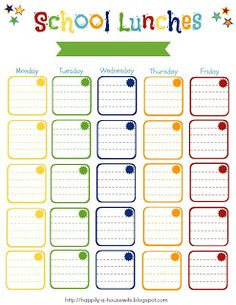 FREE school lunch planning printable