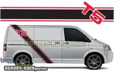 VW transporter side racing stripes 032 Volkswagen VW Transporter & VW Campervan side racing stripes sticker kit with or logo. We can make these racing stripes to suit all VW Transporters. Kit contents: 2 x large diagonal Volkswagen Transporter, Vw T5, Main Colors, 2 Colours, Racing Stripes, Campervan, Color Show, Colorful Backgrounds, How To Apply