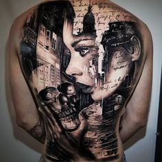 Incredible black and grey realism back piece tattoo by Back Tattoo Women Full, Back Tattoos For Guys, Full Back Tattoos, Full Body Tattoo, Tattoos For Women, Skull Tattoos, Body Art Tattoos, Sleeve Tattoos, Cool Tattoos