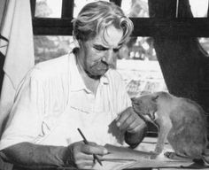 """Albert Schweitzer and his cat, Sizi.   """"A man is ethical only when life, as such, is sacred to him, that of plants and animals as that of his fellow men, and when he devotes himself helpfully to all life that is in need of help.""""  """"Compassion, in which all ethics must take root, can only attain its full breadth and depth if it embraces all living creatures and does not limit itself to mankind."""""""
