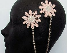 1920s Art Deco Headpiece - Gatsby Flapper Costume, Rhinestone Hairpiece, Pink Hair Clip, Hair Chain, Prom Accessories