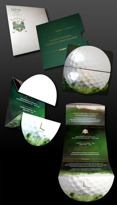 Pinnacle Entertainment Golf Tournament Invitation by Michelle Bruney Parker, via Behance Unternehmensbroschüre Design, Cover Design, Visual Design, Layout Design, Pamphlet Design, Leaflet Design, Booklet Design, Mailer Design, Graphic Design Brochure