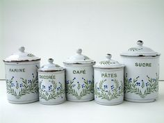 French Antique Set Of 6 Enamel Kitchen Canisters 1910s Containers Blue Box Storage Cottage Eveteam 180 00 Via
