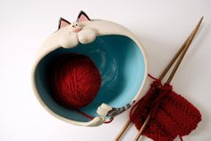 Unlike most cats, this one will actually help you with your knitting projects! Approximate dimensions: Width: 6 Height: 4.5 P.S. If youd like a
