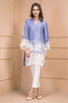Pure silk shirt with lace appliqué